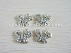2012 New Hot fashion charm 316L Surgical Stainless Steel butterfly shaped gem clear stone dangle pendant