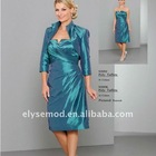 Newest Designing A-line Strapless V-cut Knee Length Mother of Bride Dress with Jacket