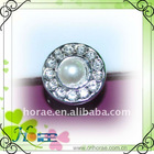 Deluxe plated rhinestone plastic round shape button with pearl