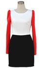2012 Autumn OL O-collar Pure Color long sleeve winter dresses