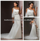 One Shoulder Wholesale Price Short Train Ivory Long Sleeve Wedding Gowns 2012