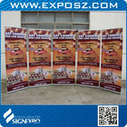 Telescopic roller banner with aluminum stand