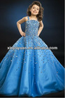 Blue Spaghetti Straps Beaded A-line Prom Gown Party Dress For Little Girl PT-260