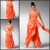 Sexy Asymmetry Strapless Beaded Sash Chiffon 2012 Evening Dress P-ED-371