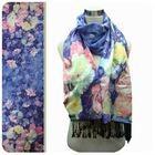 floral silk digital print scarf with tassel