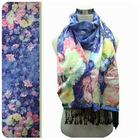 floral silk digital print scarf with tassel