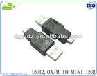 Hight quality USB MALE TO MALE MINI USB ADAPTER/USB JACK /USB SOCKET