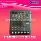 RMV6 2 Mono + 2 stereo channel professional USB audio mixing console