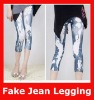 Fashion Seamless Elastic Fake Jeans Printed Short Leggings
