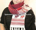 2012 Fashion Cute Snow Flakes, House, Flowers & Reindeer hristmas scarf Xmas scarves for girl