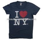 Mens design customer logo printing I heart NY t-shirt