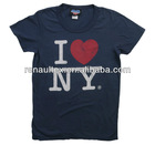 Mens design customer logo printing I heart NY t-shirt