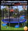 Round trampoline with enclosure