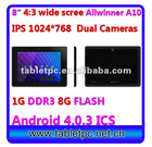 "8"" 1024*768 HDMI 1G 8G Plastic Dual Cameras android Market tablet pc (816)"