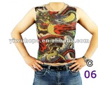 full of the oriental flavor sleeveless mesh tattoo t-shirt