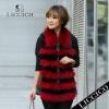 Girl fashion sheepskin leahter waistcoat red raccoon dog fur vest #1206-A-1