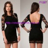 Hot sale beaded cocktail dress with 3/4 long sleeves