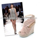 2011 new design girl/lady's high heel silk fabric shoes