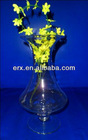 Clear cheap flower glass vase with base