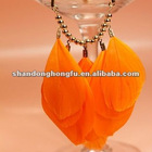2012 spring new feather orange necklace