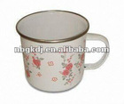 enamel drinking mug with PP lid and SS rim