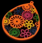 Wood Pendants, Lead Free, Drop, Dyed, Orange, Size: about 39x50x3mm, hole: 0.8mm(WOOD-H004-2)