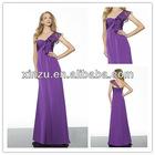 sloping shoulder sweetheart satin and chiffon fabric zipper back purple bridesmaid dress