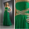 2012 Chiffon Strapless beading prom night glamorous entrance Glamorous Lime Green Dress