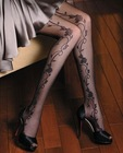women black sexy pantyhose with flower design on the sides