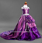 GD121901 New Arrival Cute 2013 Spaghetti Straps Appliqued Custom-made Taffeta Purple with Train Girls Party Dresses