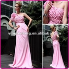Cheap And Charming Dresses Evening One-Shoulder Hand Made Flower Beaded Pink Sheath Chiffon SE-004