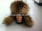 CDH036 Genuine raccoon and fox Fur Hat with genuine sheep leather with earflap for men and women in winter