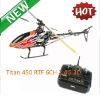 Promotion HOT!!! TITAN 450 Plastic 2.4G 6ch RTF 3D helicopter