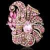 ARINNA Ladies Multi Sapphire Stone Oval Emerald Gemstone Brooch Pin Pink Crystal Booch Pin P0387