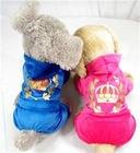 2012 New arrival Crown Velvet Jumpsuit Hoodies pet apparel