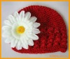 Crochet children hat with daisy flower