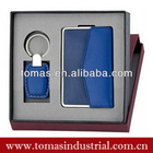 Classicboxed leather business card holder and key holder advertising gift set