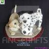 Resin dog figurine desktop decoration with wooden base