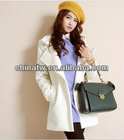 zc09048 European Style Name Brand Fashion Plain Zipper Women Wool Winter Coat