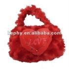 red love heart plush handbag