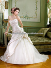 Sexy Sweetheart Beaded Lace Bodice Asymmetric Satin and Tulle Skirt Chapel Train New Model 2013 Wedding Dress
