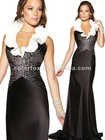 Stylish Black/White Ruffled Neck Beaded Bodice Sweep Train Formal Evening Dress
