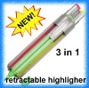 3 in 1 retractable highlighter