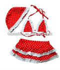 Red/white dot Swimming suit With swim Hat