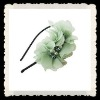 green chiffon pearl beads headbands