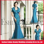 Floor-length mermaid satin pleats V-neckline with coat mother of the bride dresses with sleeves