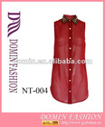 Hot selling 100%POLYESTER chiffon golden studded red Lady's tops , Plus Size