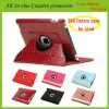 Red crocodile leather case for iPad with sleeping function