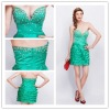 Off the shoulder sweetheart flounce green cocktail dress hy339