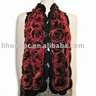 lady's rosette scarf in true rabbit fur quality